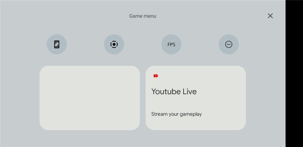 Android 12 game dashboard on Youtube