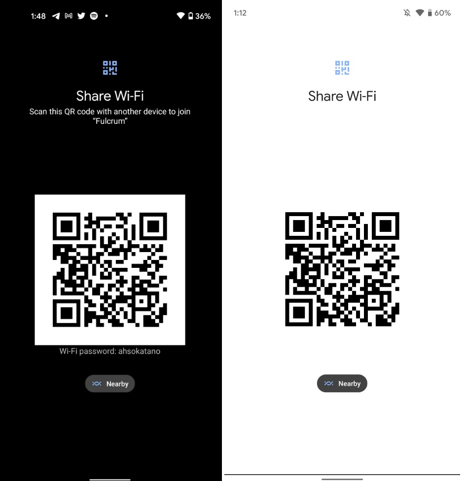 Android 12 Developer Preview 2 Wifi sharing is now in bright theme mode