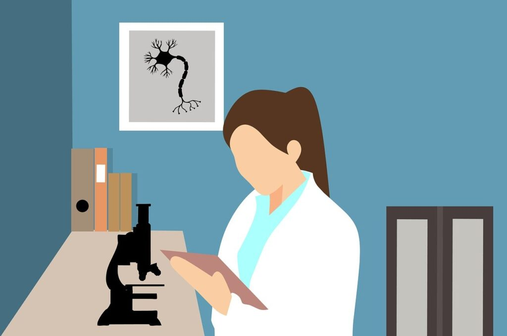 Biotechnology scientist read a research book in laboratory