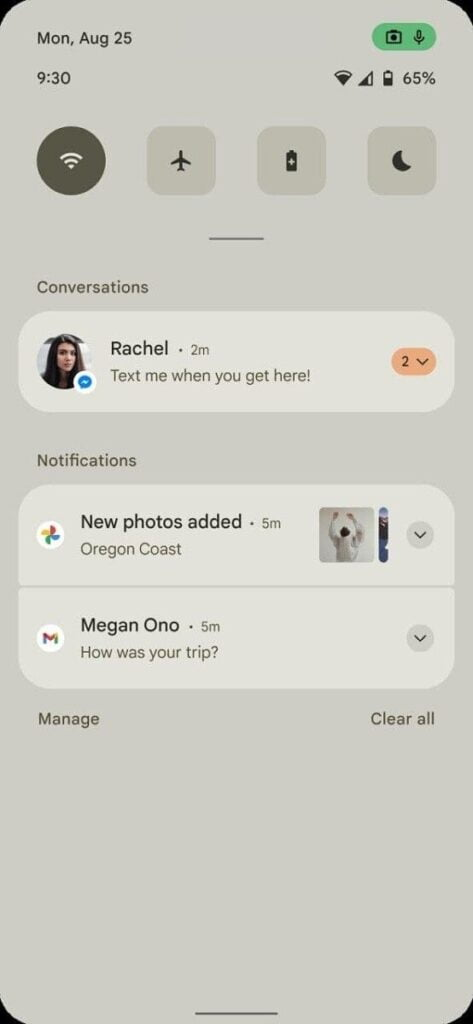 Android 12 concept notification panel UI Highlight