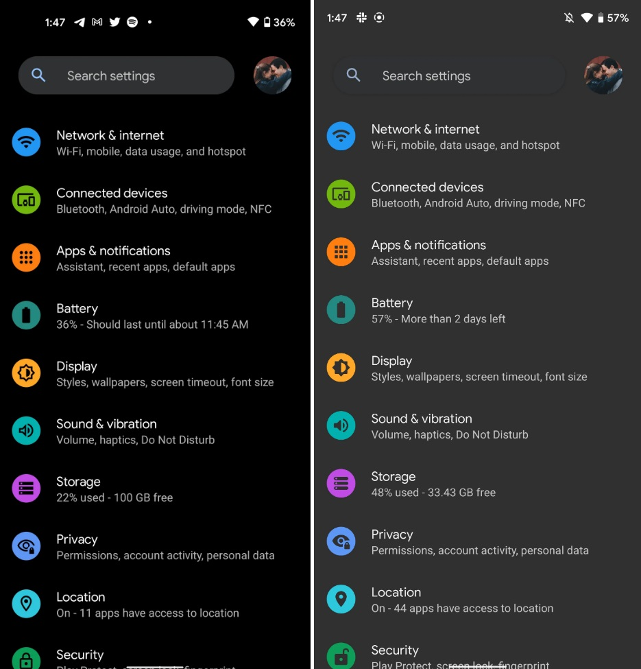 Android 12 Setting black theme Preview
