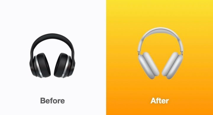 ios 14.5 developer preview 2 headphone new emoji Before and after