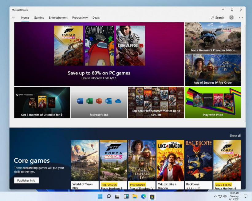 New Microsoft App Store with New Customized User Interface for Windows 11