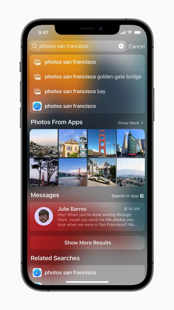 Focus search can now search for pictures by location, person, scene, and object.