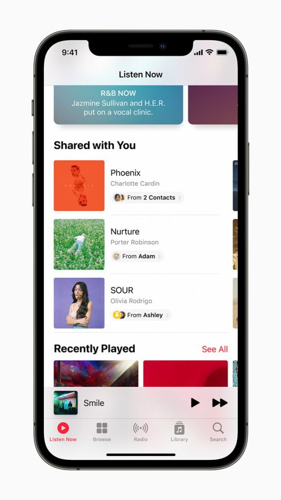 music users shared in the Information App is now displayed in the new Share with You tab of Apple Music