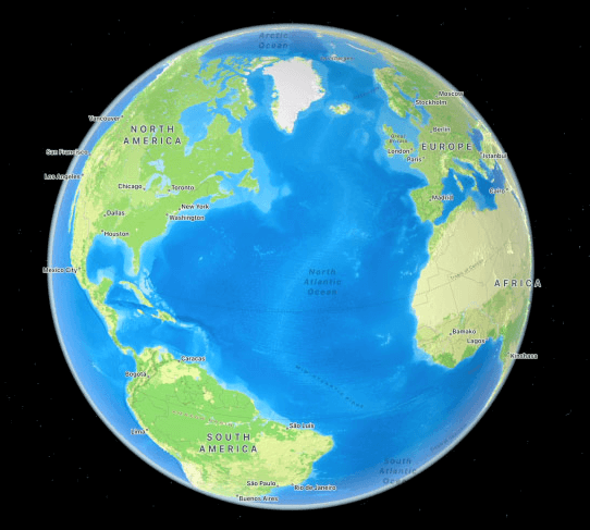 macOS 12 Monterey 3d globe preview